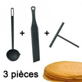 Kit ustensiles spécial crèpes spatule louchetterateau en nylon