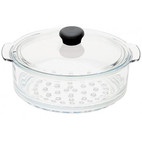 Cuit vapeur en verre 20 cm avec couvercle Cristel