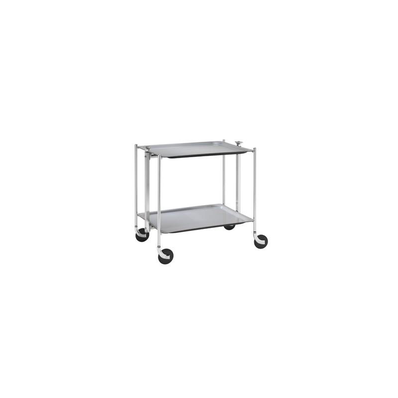 Table roulante 2 plateaux stratifi s gris montant argent platex la carpe - Table roulante 3 plateaux ...