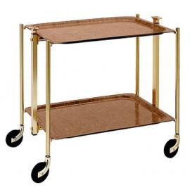 Table roulante 2 plateaux stratifiés Platex façon Loupe montant doré