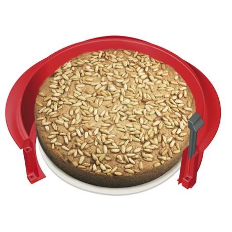 Moule à gateaux en silicone démontable et son plat en céramique 23 cm Lékué